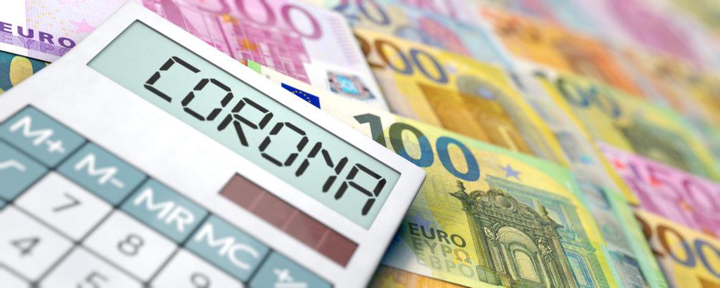 Hamag Bicro krediti i zajmovi - kalkulator s natpisom corona okružen novčanicama Eura
