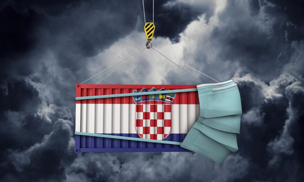 Potpora za poduzetnike - kontenjer u boji hrvatske zastava s maskom na licu zbog koronavirusa