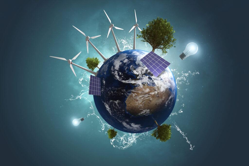 Povećanje energetske učinkovitosti - nartani solari, vjetroelektrane, stabla na Planeti Zemlji